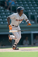 Third baseman J.C. Encarnacion (1) of the Delmarva Shorebirds bats in a game against the Greenville Drive on Friday, August 2, 2019, in the continuation of rain-shortened game begun August 1, at Fluor Field at the West End in Greenville, South Carolina. Delmarva won, 8-5. (Tom Priddy/Four Seam Images)