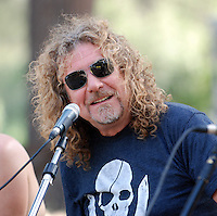 Pictured: Robert Plant during a pres conference  at the Rockwave Festival near Athens, Greece. STOCK PICTURE<br /> Re: Led Zeppelin singer Robert Plant and guitarist Jimmy Page are being sued in a copyright dispute brought by the American band Spirit, who claim the classic 1971 hit was 'lifted' from their instrumental track Taurus.<br /> A lawsuit has been filed on behalf of Spirit guitarist Randy Wolfe - known as Randy California - who drowned in 1997 having never taken legal action over the song.