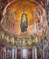 Pictures & images of the Byzantine mosaic of Theotokos, depicting the Virgin Mary, the  Mother of God, and child, 1126-1130, in the apse of the Gelati Georgian Orthodox Church of the Virgin, 1106. The medieval Gelati monastic complex near Kutaisi in the Imereti region of western Georgia (country). A UNESCO World Heritage Site.