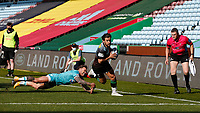 17th April 2021; Twickenham Stoop, London, England; English Premiership Rugby, Harlequins versus Worcester Warriors; 9 on 9, Danny Care of Harlequins gets past Hougaard of Worcester warriors to score a try
