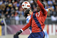 Jozy Altidore (17) of the United States goes up for a header. The United States (USA) and Argentina (ARG) played to a 1-1 tie during an international friendly at the New Meadowlands Stadium in East Rutherford, NJ, on March 26, 2011.