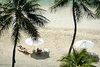 AERIAL OVER A RESORT BEACH IN PALAU, MICRONESIA