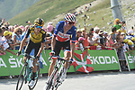 French Champion Warren Barguil (FRA) Arkéa Samsic climbs to 9th place with George Bennett (NZL) Team Jumbo-Visma behind atop the Col du Tourmalet near the end of Stage 14 of the 2019 Tour de France running 117.5km from Tarbes to Tourmalet Bareges, France. 20th July 2019.<br /> Picture: Colin Flockton | Cyclefile<br /> All photos usage must carry mandatory copyright credit (© Cyclefile | Colin Flockton)