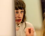 Raleigh, North Carolina- August 11, 2017<br /> <br /> Katie Crutchfield of Waxahatchee puts on makeup before her band took the stage at the NCMA. <br /> <br /> Ex Hex and Waxahatchee played an outdoor concert with MERGE Records label mates Superchunk at the North Carolina Museum of Art. (Photo by Jeremy M. Lange for The New York Times)
