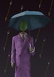 Conceptual illustration of mannequin with umbrella under falling arrows depicting prisoner of mind