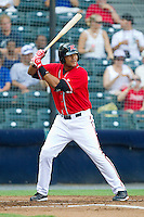 Chris Dominguez #37 of the Richmond Flying Squirrels at bat against the Harrisburg Senators in game one of a double-header at The Diamond on July 22, 2011 in Richmond, Virginia.  The Squirrels defeated the Senators 3-1.   (Brian Westerholt / Four Seam Images)