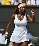 July 2, 2009.Serena Williams of the USA, in action, defeating Elena Dementieva of Russia, 6-7, 7-5, 8-6 in the semi-final of the Wimbledon Championships at the All England Lawn Tennis Club, Wimbledon, England