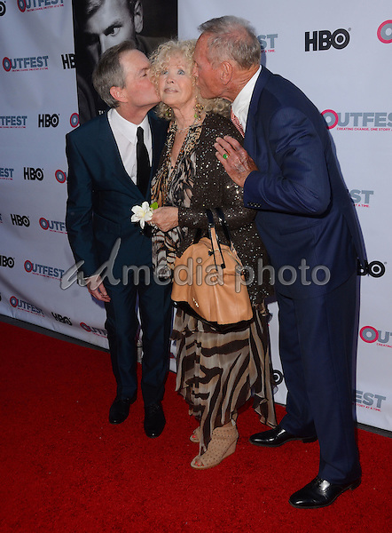 """11 July 2015 - West Hollywood, California - Allan Glaser, Connie Stevens, Tab Hunter. Arrivals for the 2015 Outfest Los Angeles LGBT Film Festival screening of """"Tab Hunter Confidential"""" held at The DGA Theater. Photo Credit: Birdie Thompson/AdMedia"""