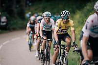 yellow jersey / GC leader Gianni Moscon (ITA/SKY) escorted by teammates<br /> <br /> Stage 5: Grenoble > Valmorel (130km)<br /> 70th Critérium du Dauphiné 2018 (2.UWT)
