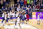 April 1, 2018; Teammates and coaches surround Arike Ogunbowale (24) after she made the game winning shot at the Women's Basketball Final Four Championship Game. Notre Dame defeated Mississippi State 61-58. (Photo by Matt Cashore/University of Notre Dame)