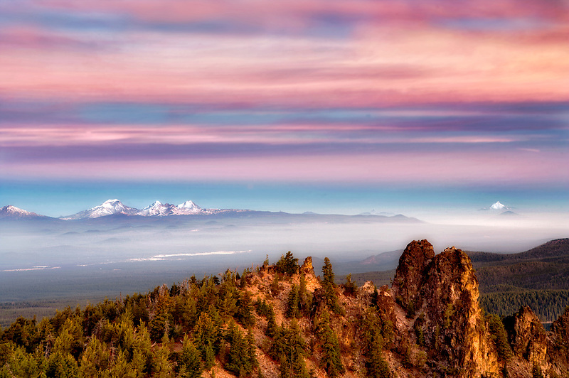 Sunrise from Paulina Peak with Three Sisters Mountain. Newberry National Volcanic Monument. Central Oregon
