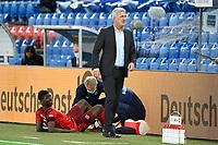 6th August 2020, Basel, Switzerland. UEFA National League football, Switzerland versus Germany;  Breel Embolo, receives medical asisstance as Trainer Vladimir Petkovic looks on