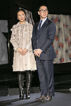 Lawrence Ho (R) chairman and CEO of Melco Resorts and Entertainment Ltd. with his wife,attend the opening ceremony for the KIMONO ROBOTO exhibition at Omotesando Hills on November 30, 2017, Tokyo, Japan. The exhibition features 13 kimonos created by experts using traditional methods and a humanoid robot dressed in traditional kimono performing in the middle of the hall. The exhibition runs til December 10. (Photo by Rodrigo Reyes Marin/AFLO)
