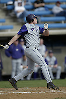 Kyle Larsen of the Washington Huskies bats during a game against the Pepperdine Waves at Eddy D. Field Stadium on February 7, 2003 in Malibu, California. (Larry Goren/Four Seam Images)