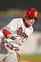 St. John's Red Storm infielder Kyle Lombardo #14 rounds third during a game against the Michigan State Spartans at the Big Ten/Big East Challenge at Florida Auto Exchange Stadium on February 17, 2012 in Dunedin, Florida.  (Mike Janes/Four Seam Images)