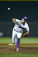 Winston-Salem Dash relief pitcher Tyler Johnson (14) delivers a pitch to the plate against the Myrtle Beach Pelicans at BB&T Ballpark on August 6, 2018 in Winston-Salem, North Carolina. The Dash defeated the Pelicans 6-3. (Brian Westerholt/Four Seam Images)