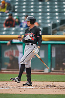 Jordan Patterson (10) of the Albuquerque Isotopes bats against the Salt Lake Bees at Smith's Ballpark on April 8, 2018 in Salt Lake City, Utah. Albuquerque defeated Salt Lake 11-4. (Stephen Smith/Four Seam Images)