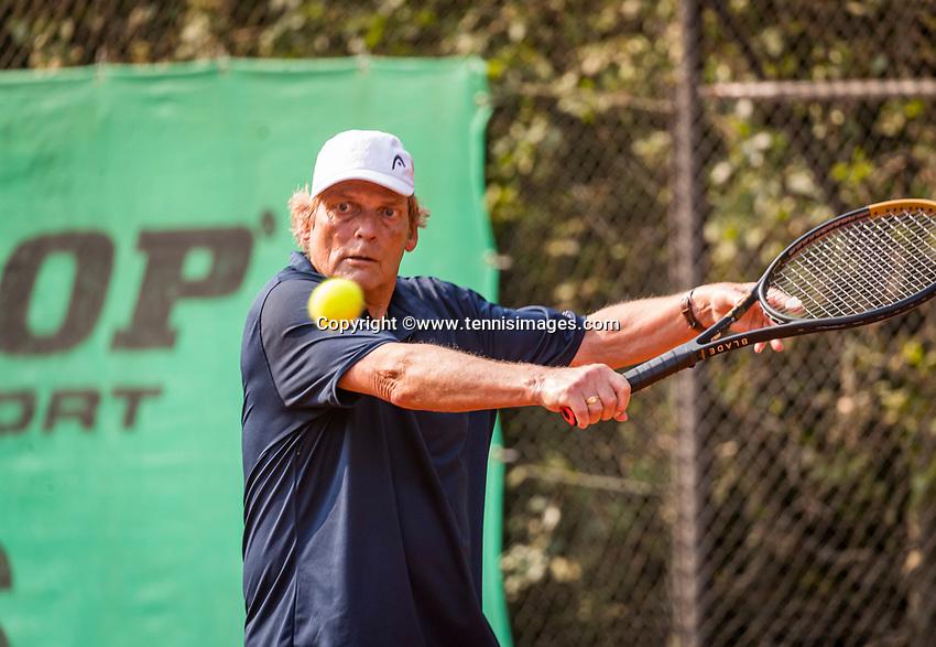 Hilversum, The Netherlands,  August 20, 2021,  Tulip Tennis Center, NKS, National Senior Tennis Championships, Men's single 75+, Etto van Waning (NED)<br /> Photo: Tennisimages/Henk Koster