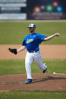 Mars Hill Lions relief pitcher Brad Dzeskewicz (36) in action against the \qr at Intimidators Stadium on March 30, 2019 in Kannapolis, North Carolina. The Royals defeated the Bulldogs 11-6 in game one of a double-header. (Brian Westerholt/Four Seam Images)