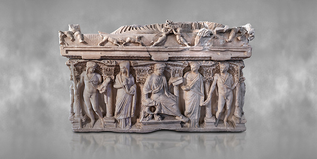 """Side panel of a Roman relief sculpted sarcophagus with kline couch lid, """"Columned Sarcophagi of Asia Minor"""" style typical of Sidamara, 3rd Century AD, Konya Archaeological Museum, Turkey."""