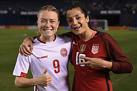 San Diego, CA - Sunday January 21, 2018: Emily Sonnett, Nadia Nadim during an international friendly between the women's national teams of the United States (USA) and Denmark (DEN) at SDCCU Stadium.