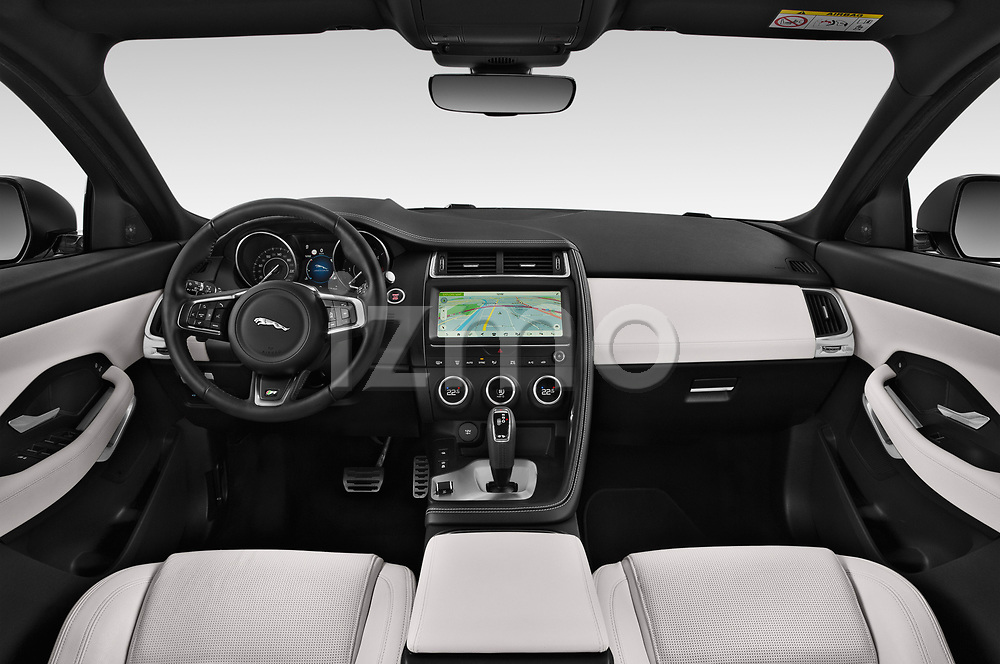 Stock photo of straight dashboard view of a 2018 Jaguar E Pace R Dynamic 5 Door SUV