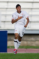 Mario Rodriguez (9) of the United States celebrates his goal during the quarterfinals of the CONCACAF Men's Under 17 Championship at Catherine Hall Stadium in Montego Bay, Jamaica. The USA defeated El Salvador, 3-2, in overtime.
