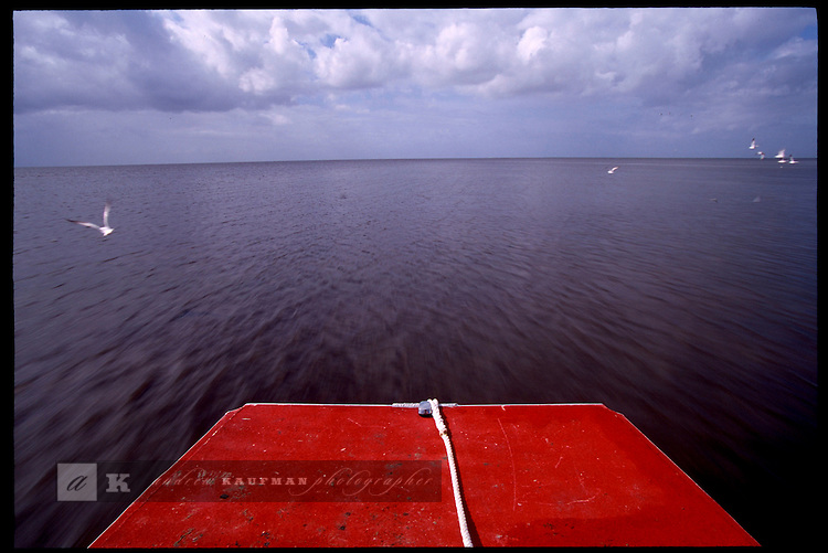 MAY 21, 2001. LAKE OKEECHOBEE, FLORIDA. Lake conditions are at about 9.5 three feet under average. Conditions are expected to get worse in the next few months. On an ARMY CORP OF ENGINEERS airboat glides along the lake.