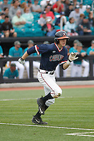 University of Virginia Cavaliers second baseman Ernie Clement (4) at bat during a game against the University of Coastal Carolina Chanticleers at Springs Brooks Stadium on February 21, 2016 in Conway, South Carolina. Coastal Carolina defeated Virginia 5-4. (Robert Gurganus/Four Seam Images)