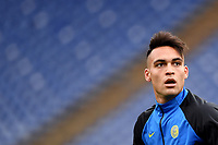 Lautaro Martinez of FC Internazionale looks on during the warm up prior to the Serie A football match between AS Roma and FC Internazionale at Olimpico stadium in Roma (Italy), January 10th, 2021. Photo Andrea Staccioli / Insidefoto