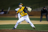 Kent State Golden Flashes relief pitcher Zach Schultz (36) in action against the Wake Forest Demon Deacons in game two of a double-header at David F. Couch Ballpark on March 4, 2017 in  Winston-Salem, North Carolina.  The Demon Deacons defeated the Golden Flashes 5-0.  (Brian Westerholt/Four Seam Images)
