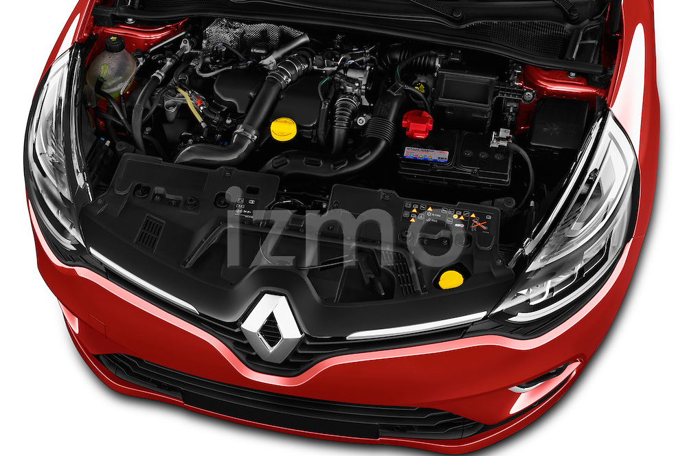 Car Stock 2017 Renault Clio Intens 5 Door Hatchback Engine  high angle detail view