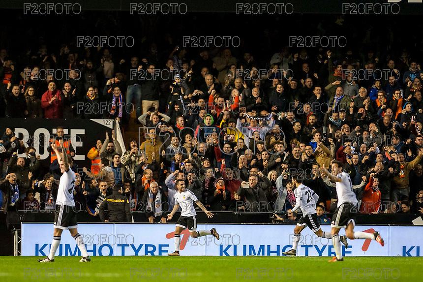 VALENCIA, SPAIN - JANUARY 3: Paco Alcacer celebrating his goal during BBVA LEAGUE match between Valencia C.F. and Real Madrid at Mestalla Stadium on January 3, 2015 in Valencia, Spain