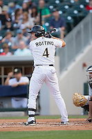 Vinny Rottino (4) of the Charlotte Knights at bat against the Indianapolis Indians at BB&T BallPark on June 17, 2016 in Charlotte, North Carolina.  The Knights defeated the Indians 4-0.  (Brian Westerholt/Four Seam Images)