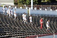 RICHMOND, VA - SEPTEMBER 30: North Carolina FC's starters enter the field through the stadium bowl before a game between North Carolina FC and New York Red Bulls II at City Stadium on September 30, 2020 in Richmond, Virginia.