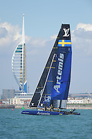 Artemis Racing, JULY 23, 2016 - Sailing: Artemis Racing sails in front of the Emirates Spinnaker Tower during day one of the Louis Vuitton America's Cup World Series racing, Portsmouth, United Kingdom. (Photo by Rob Munro/Stewart Communications)