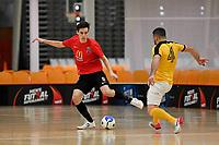 Hemi Innes of Canterbury and Kareem Osman of Capital during the Men's Futsal SuperLeague, Canterbury United Futsal Dragons v Capital Futsal at ASB Sports Centre, Wellington on Saturday 31 October 2020.<br /> Copyright photo: Masanori Udagawa /  www.photosp ort.nz