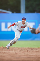 Auburn Doubledays second baseman Branden Boggetto (3) breaks on a ground ball base hit during a game against the Batavia Muckdogs on June 19, 2017 at Dwyer Stadium in Batavia, New York.  Batavia defeated Auburn 8-2 in both teams opening game of the season.  (Mike Janes/Four Seam Images)