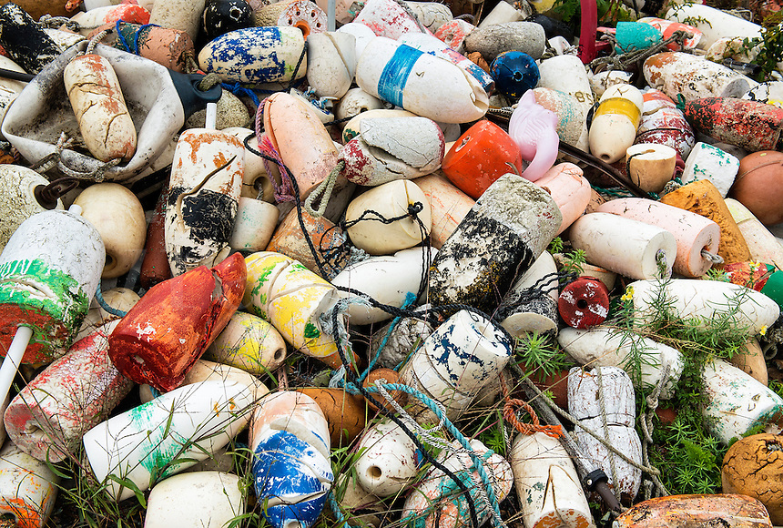 Pile of discarded buoys, Maine
