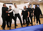 """John Treacy Egan, Corey Cott, Tony Yazbeck,  Eliseo Roman, Chris Dwan and Alex Newell during a Performance Sneak Peek of The MCP Production of """"The Scarlet Pimpernel"""" at Pearl Rehearsal studio Theatre on February 14, 2019 in New York City."""