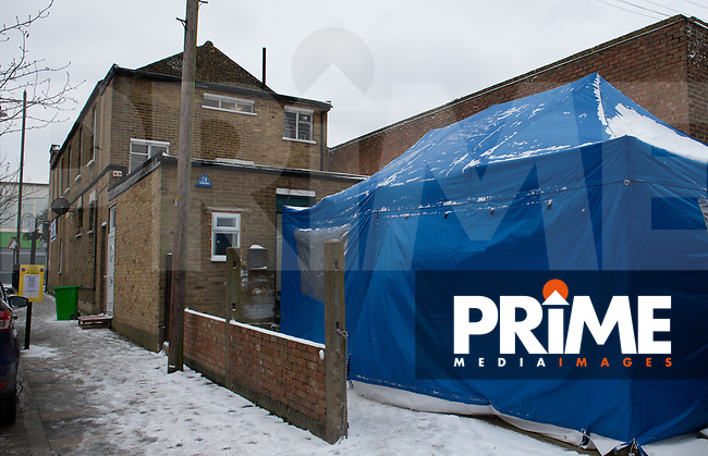 A temporary tent for COVID-19 Vaccinations at Aspire Pharmacy, Hadlow Road, Sidcup, Kent, England on the 8 February 2021. Photo by Alan Stanford.