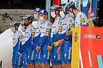 Deceuninck-Quick Step leading team of yesterday's stage at sign on before the start of Stage 15 of the Vuelta Espana 2020, running 230.8km from Mos to Puebla de Sanabria, Spain. 5th November 2020. <br /> Picture: Luis Angel Gomez/PhotoSportGomez | Cyclefile<br /> <br /> All photos usage must carry mandatory copyright credit (© Cyclefile | Luis Angel Gomez/PhotoSportGomez)