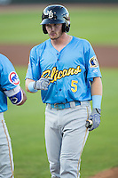 Ian Happ (5) of the Myrtle Beach Pelicans during the game against the Winston-Salem Dash at BB&T Ballpark on April 18, 2016 in Winston-Salem, North Carolina.  The Pelicans defeated the Dash 6-4.  (Brian Westerholt/Four Seam Images)