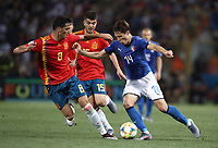 Football:  Uefa European under 21 Championship 2019, Italy - Spain Renato Dall'Ara stadium Bologna Italy on June16, 2019. Italy's Federico Chiesa (r) in action with Spain's Martin Aguirregabiria (c) and Mikel Merino (l) during the  Uefa European under 21 Championship 2019football match between Italy and Spain at Renato Dall'Ara stadium in Bologna, Italy on June16, 2019.<br /> UPDATE IMAGES PRESS/Isabella Bonotto