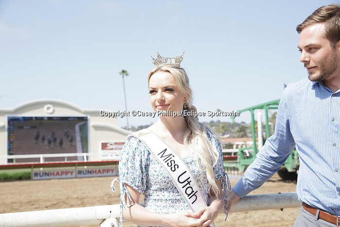 DEL MAR, CA  JULY 16: Miss Utah, Sasha Sloan in the winners circle on Opening Day of the Summer Meet at Del Mar Thoroughbred Club on July 16, 2021,  in Del Mar, Ca. (Photo by Casey Phillips/Eclipse Sportswire/CSM)