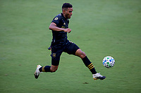 LOS ANGELES, CA - AUGUST 22: Diego Palacios #12 of the LAFC moves with the ball during a game between Los Angeles Galaxy and Los Angeles FC at Banc of California Stadium on August 22, 2020 in Los Angeles, California.
