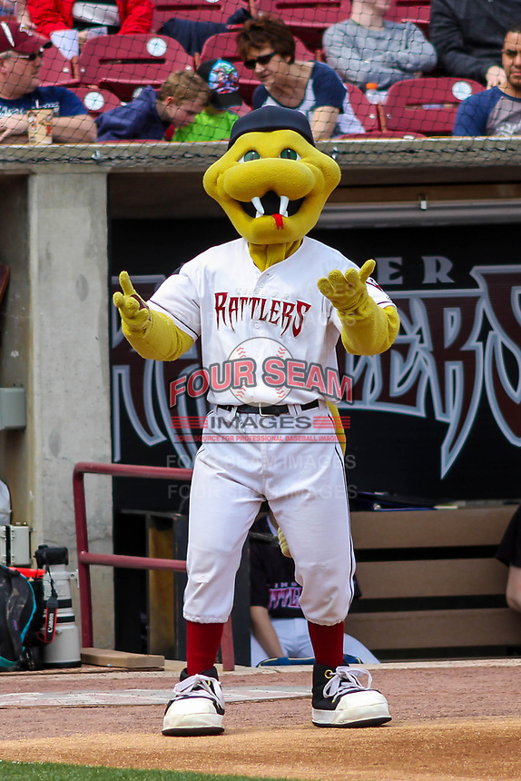 Fang, the Wisconsin Timber Rattlers mascot, during a Midwest League game against the Quad Cities River Bandits on April 9, 2017 at Fox Cities Stadium in Appleton, Wisconsin.  Quad Cities defeated Wisconsin 17-11. (Brad Krause/Four Seam Images)