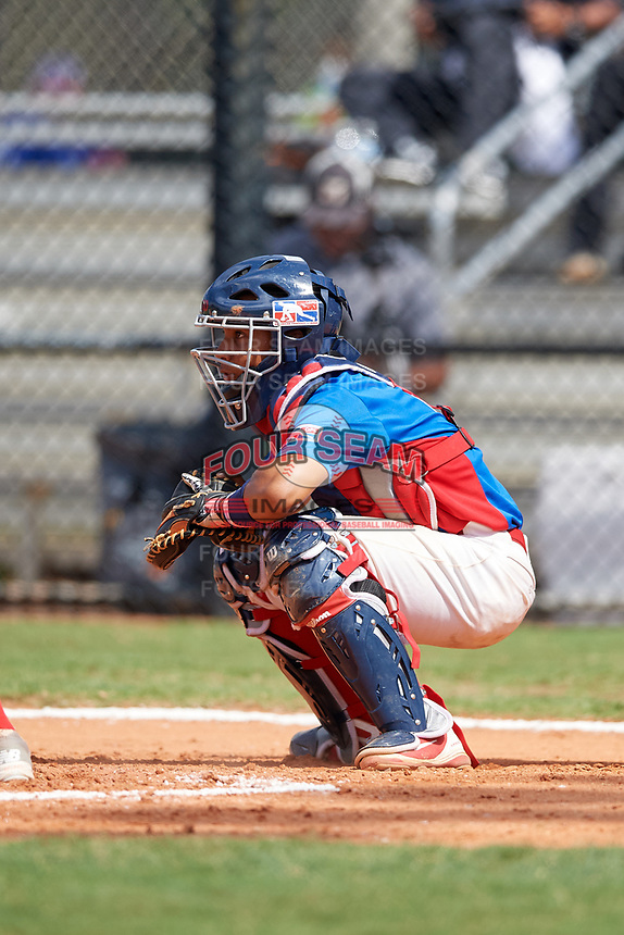 Adrian De leon (9) during the Dominican Prospect League Elite Florida Event at Pompano Beach Baseball Park on October 15, 2019 in Pompano beach, Florida.  (Mike Janes/Four Seam Images)
