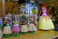 Hula Dancer Dolls are available to shopping tourists as keepsake reminders a wonderful hawaiian vacation.