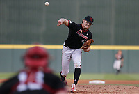 Nebraska Cam Wynne (47) pitches, Monday, June 7, 2021 in the fifth inning of the NCAA Fayetteville Regional at Baum-Walker Stadium in Fayetteville. Check out nwaonline.com/210608Daily/ for today's photo gallery. <br /> (NWA Democrat-Gazette/Charlie Kaijo)
